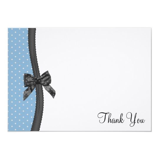 Ribbon and Polka Dots Thank You Flat Card