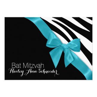 Ribbon and Zebra Stripes Bat Mitzvah Custom Invitations