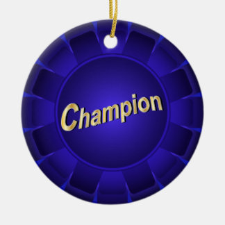 Ribbon Blue Champion to Customize Round Ceramic Decoration
