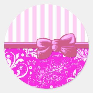 Ribbon, Bow, Damask, Stripes - White Pink Round Sticker