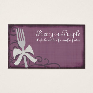 ribbon bow fork chef catering business cards