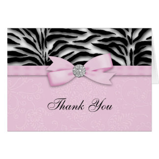 Ribbon Bow Pink Zebra Thank You Cards