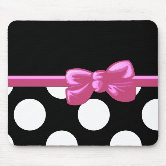 Ribbon, Bow, Polka Dots, Spots - Black White Pink Mouse Mat