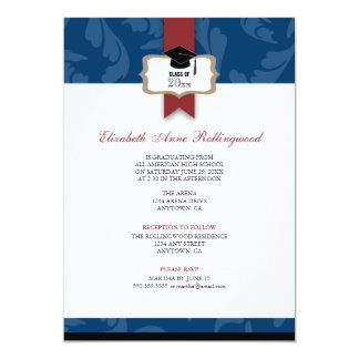 Ribbon Crest Curls Pattern Graduation: Navy Blue Card