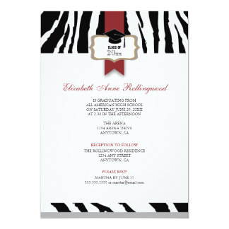 Ribbon Crest Zebra Pattern Graduation Card
