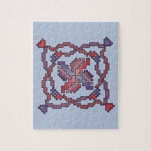 Ribbon Cross Stitch Quilt Square Puzzle