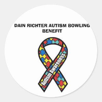 ribbon, DAIN RICHTER AUTISM BOWLING BENEFIT Round Sticker