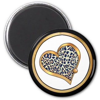 Ribbon Heart-10 Leopard Spots 6 Cm Round Magnet