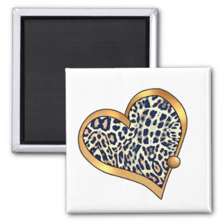 Ribbon Heart-10 Leopard Spots Fridge Magnets