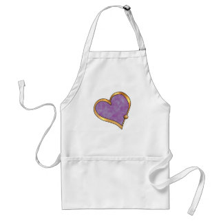Ribbon Heart-17 Purple watercolor Aprons