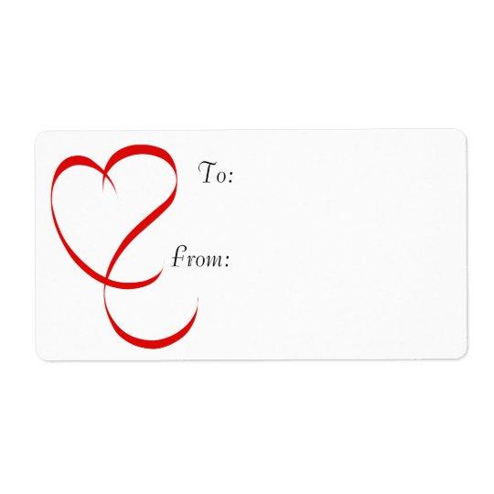 Ribbon Heart Gift Tag Labels