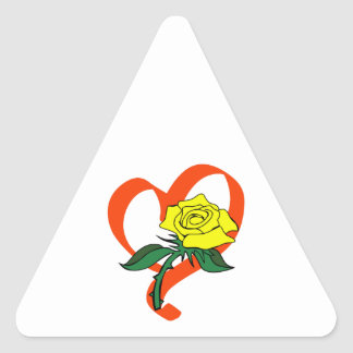 RIBBON HEART ROSE TRIANGLE STICKER