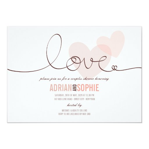 Ribbon Love Sweet Hearts Couples Shower Party 13 Cm X 18 Cm Invitation Card