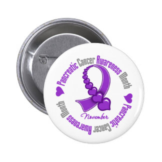 Ribbon of Hearts - Pancreatic  Cancer Awareness 6 Cm Round Badge