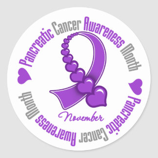 Ribbon of Hearts - Pancreatic  Cancer Awareness Round Sticker
