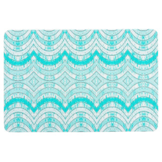 RIBBON PATTERN DISTRESSED CYAN & WHITE PRINT FLOOR MAT