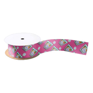 RIBBON - PSYCHEDELIC COCKTAIL DESIGN SATIN RIBBON