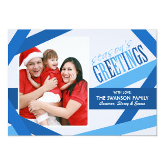 "Ribbon Strands Christmas Card - Blue 5"" X 7"" Invitation Card"