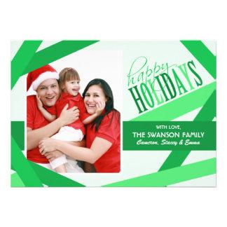 Ribbon Strands Christmas Card - Green