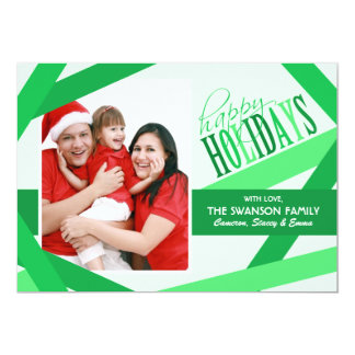 "Ribbon Strands Christmas Card - Green 5"" X 7"" Invitation Card"