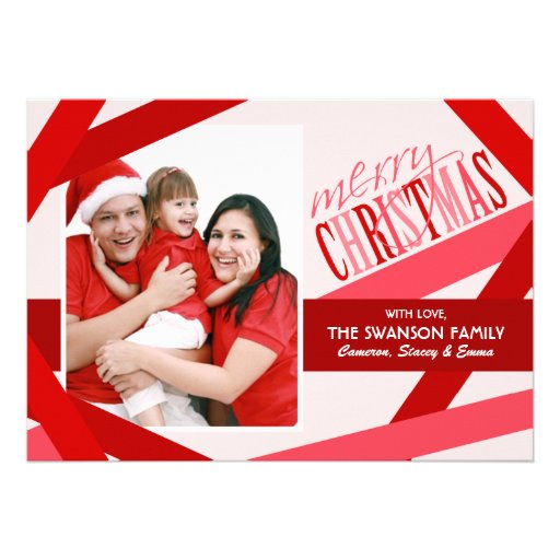 Ribbon Strands Christmas Card - Red