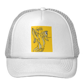 Ribbon Style Abstract Angel Gold Yellow Hat