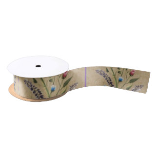 Ribbon that matches wrapping paper-floral satin ribbon