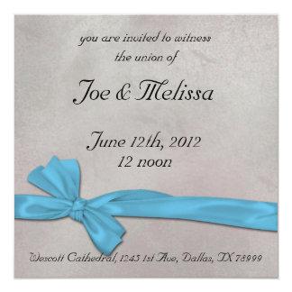 """Ribbon Wedding Invitation 5.25"""" Square Invitation Card"""