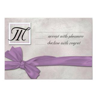 Ribbon Wedding RSVP (Lavender) 9 Cm X 13 Cm Invitation Card