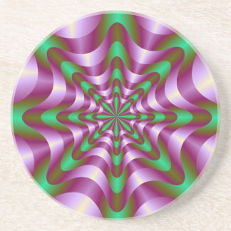 Ribbons in Purple and Green Coaster