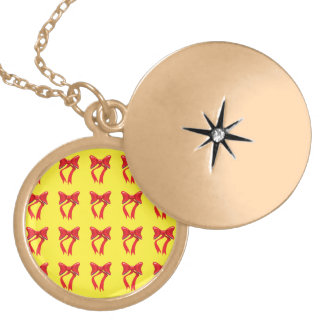 ribbons yellow background round locket necklace