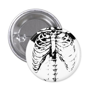 Ribcage Skeleton Goth button pin