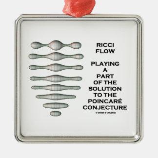 Ricci Flow Solution Poincaré Conjecture (Geometry) Silver-Colored Square Decoration