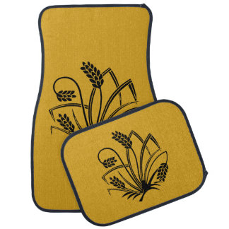 Rice plant butterfly car mat