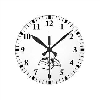 Rice plant crane round clock