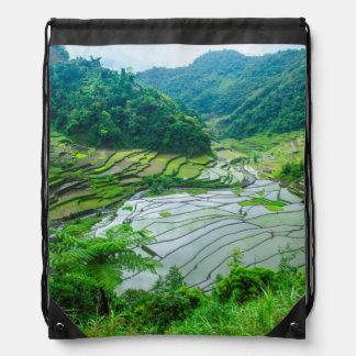 Rice terrace landscape, Philippines Drawstring Bag