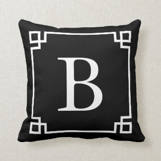 Rich Black Greek Key Monogram Cushion