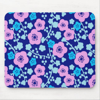 Rich blue and pink floral pattern Japanese Plum Mouse Mat