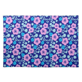 Rich blue and pink floral pattern Japanese Plum Placemat