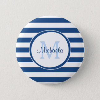 Rich Blue Even Stripes Sleek Name and Monogram 6 Cm Round Badge
