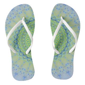 Rich Blue Green Modern Mandala Pattern Flip Flops