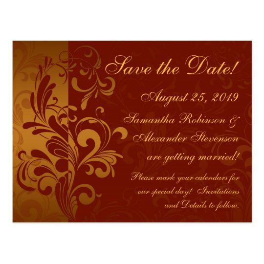 Rich Brick Red / Gold Reverse Swirl Save the Date Postcard