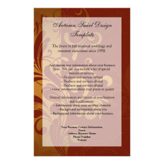 Rich Brick Red /Gold Swirl Program Menu or Flyer