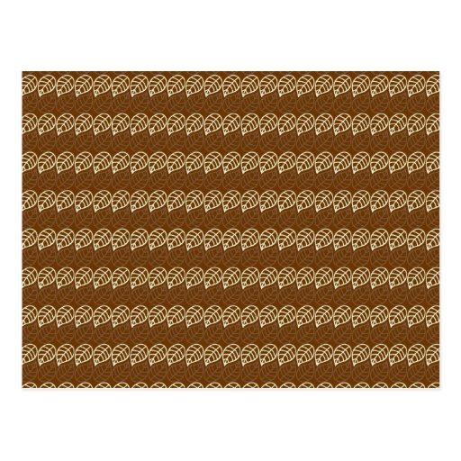 Rich Brown and Linen Fall Harvest Leaf Pattern Post Card