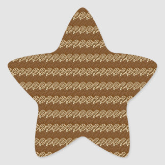 Rich Brown and Linen Fall Harvest Leaf Pattern Star Sticker