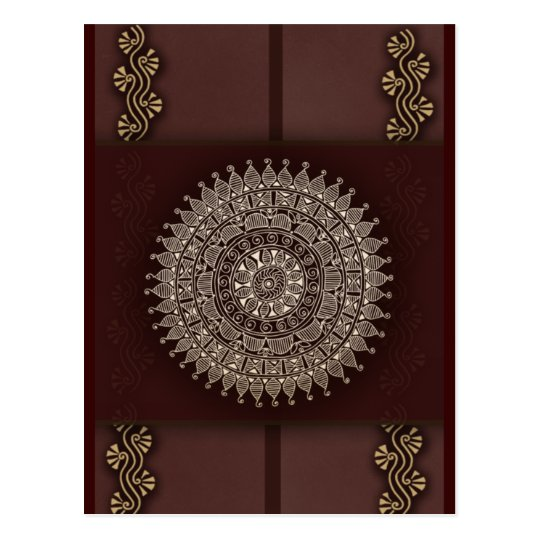 Rich brown red Indian decoration Postcard