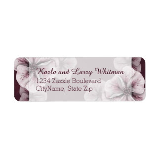 Rich Burgundy with Pink Flowers Return Address Label