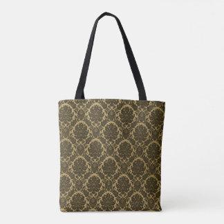 Rich-Coffee-Brown-Damask(c)Multi-Styles Tote Bag
