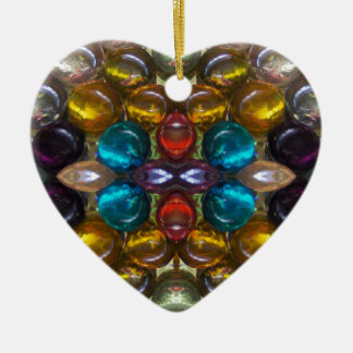 Rich Colored Glass Droplets Ceramic Heart Decoration