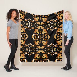 Rich Earthtone Mosaic Blanket-Rust/Tan/Black/White Fleece Blanket